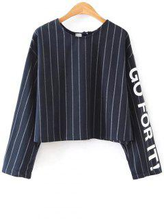 Striped Graphic Sleeve Boxy Top - Bleu Violet S