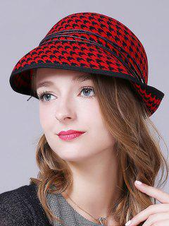 Houndstooth Layered Rope Winter Hat - Red