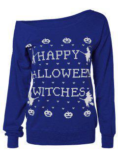 Sweat-shirt Avec Imprimé Graphique Halloween - Bleu S