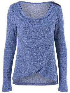 T-Shirt épaule Zippée à Col Bénitier - Moyen Bleu M
