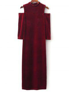 Cold Shoulder Velour Dress - Red M