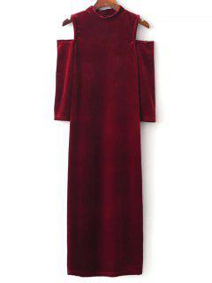 Kaltes Schulter Velour Kleid - Rot M