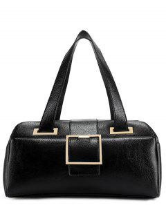 Buckle Strap Textured PU Leather Tote - Black
