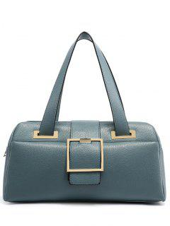 Buckle Strap Textured PU Leather Tote - Light Blue