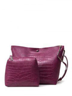 Embossed Metal Magnetic Closure Shoulder Bag - Purplish Red
