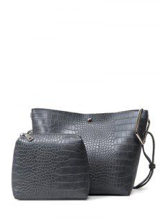 Embossed Metal Magnetic Closure Shoulder Bag - Gray