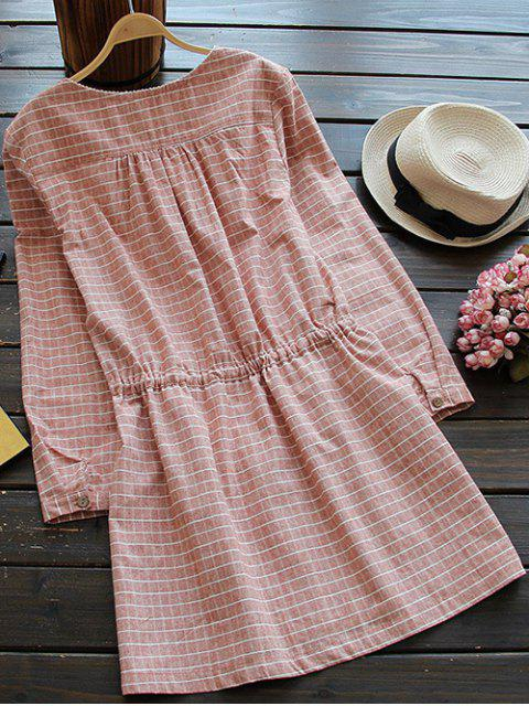 lady Drawstring Round Neck Checked Button Up Dress - SPICE ONE SIZE Mobile