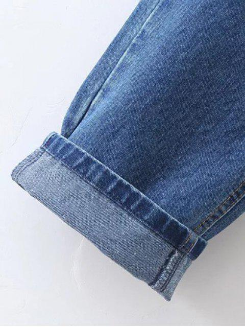 fancy Floral Embroidered Tapered Jeans - DENIM BLUE L Mobile