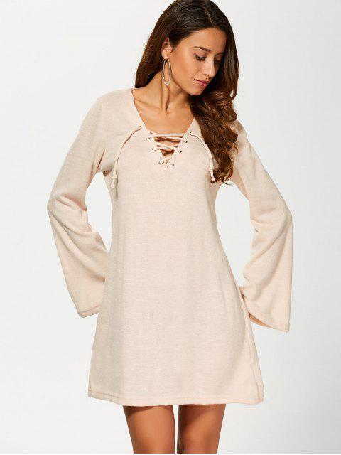 Robe tricotée à lacet avec manches évasées - Kaki XL Mobile