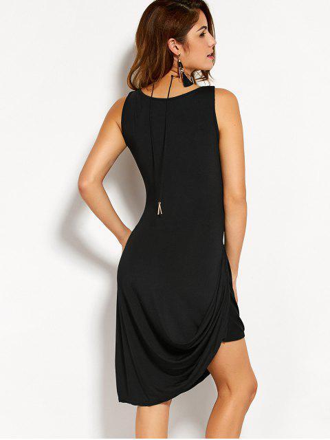 ladies Round Neck Asymmetric Sleeveless Dress - BLACK XL Mobile
