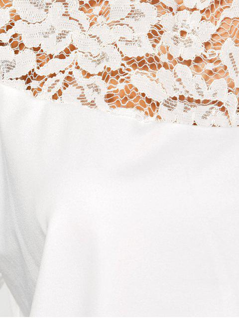 Sleeve Lace Yoke long T-shirt - Blanc M Mobile
