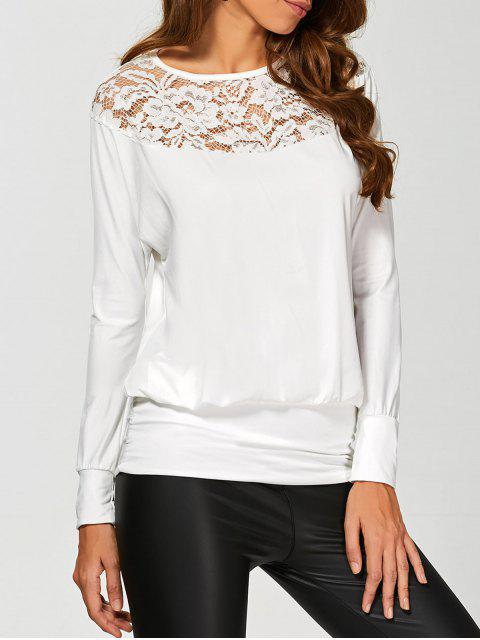 hot Lace Yoke Long Sleeve T-Shirt - WHITE M Mobile