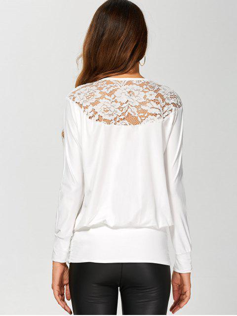 Sleeve Lace Yoke long T-shirt - Blanc S Mobile