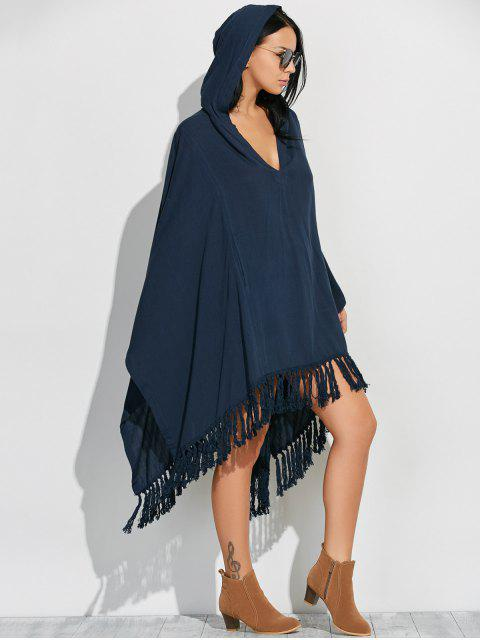 women Hooded Poncho Midi Dress With Sleeves - CADETBLUE S Mobile