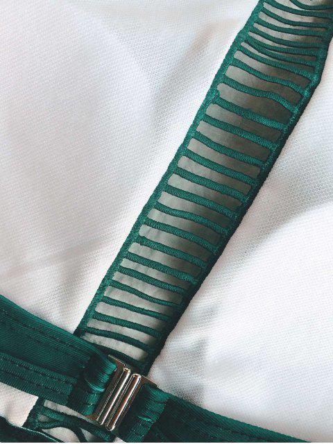 fancy Ladder Crochet High Neck Bikini - GREEN L Mobile