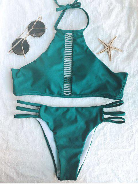 sale Ladder Crochet High Neck Bikini - GREEN S Mobile