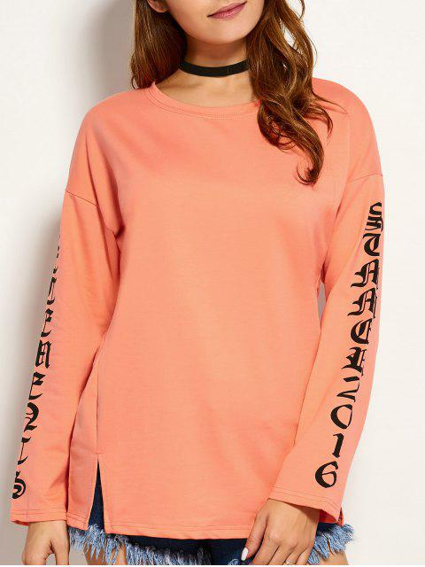 trendy Graphic Round Neck Tee - ORANGE L Mobile