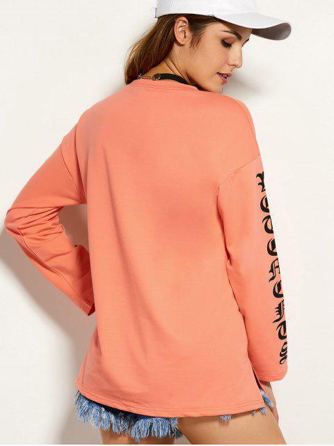 Round Graphic Neck Tee - Orange L Mobile