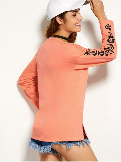 Round Graphic Neck Tee - Orange M Mobile