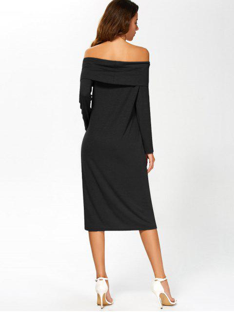 fancy Foldover Off The Shoulder Midi Dress - BLACK S Mobile