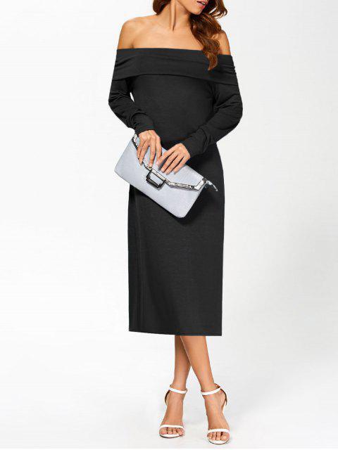 sale Foldover Off The Shoulder Midi Dress - BLACK L Mobile