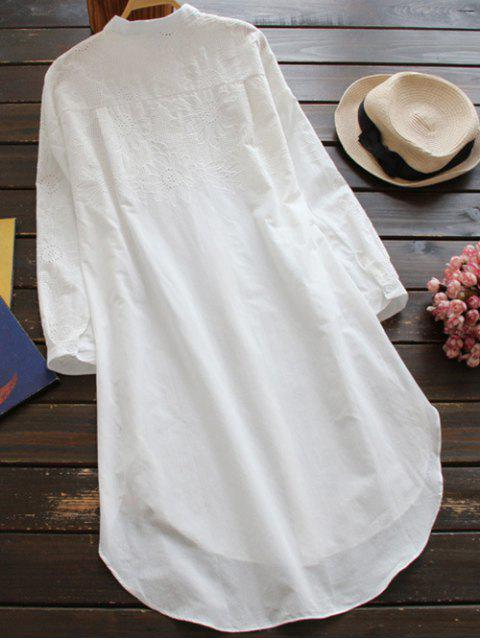 shops Embroidered High Low Button Up Tunic Shirt Dress - WHITE ONE SIZE Mobile