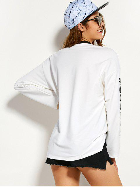 Round Graphic Neck Tee - Blanc L Mobile