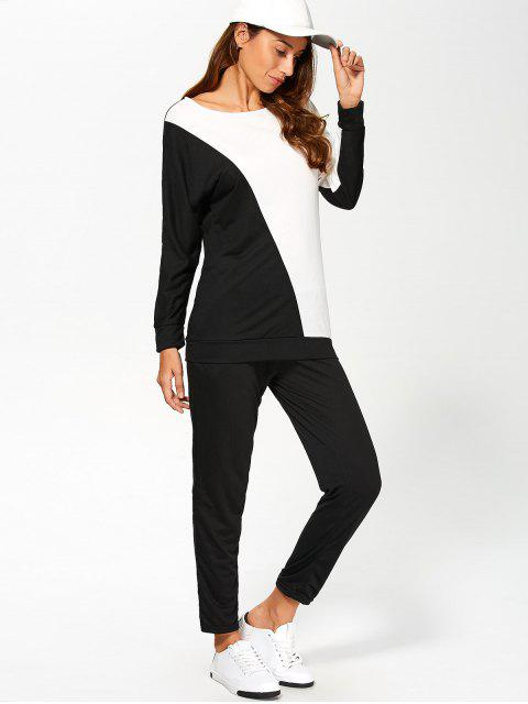 women Color Block Sweatshirt With Pants Gym Outfit - WHITE AND BLACK L Mobile