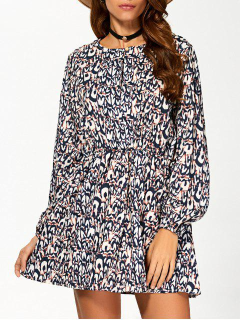 best Round Neck 3/4 Sleeveless Printed Dress - COLORMIX S Mobile