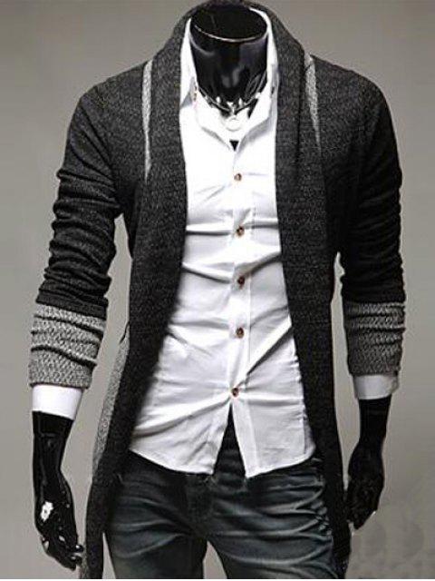 Long Cardigan tricoté en bloc de couleurs épissées - gris foncé 2XL Mobile