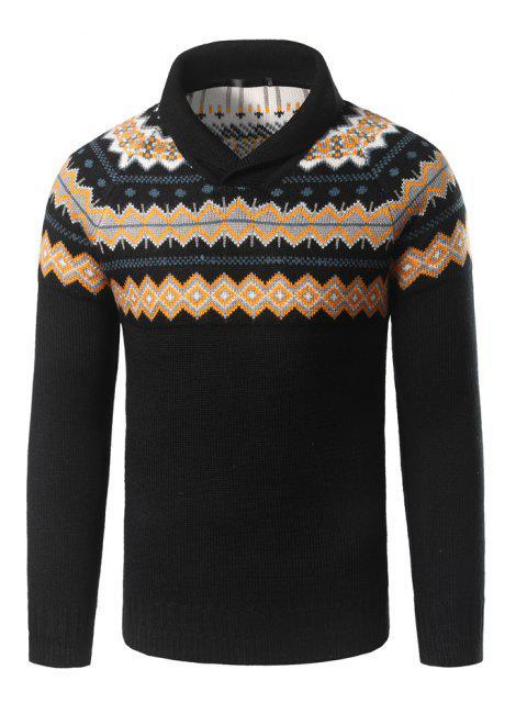 Umlegekragen geometrisches Muster-Pullover-Strickjacke - Schwarz XL Mobile