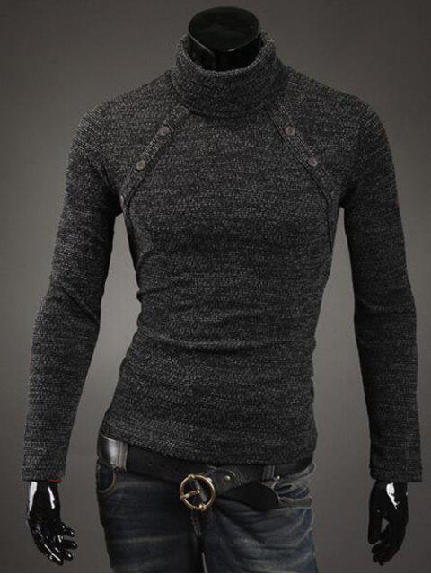 Botón con adorno del cuello alto suéter - Gris Oscuro XL Mobile