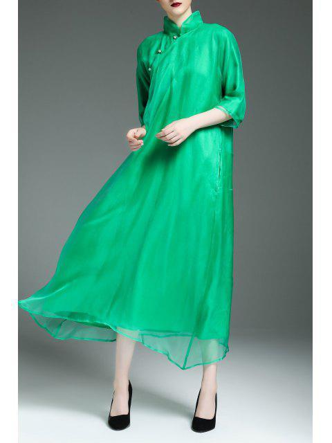 lady Flowy Swing Cheongsam Dress - GREEN M Mobile