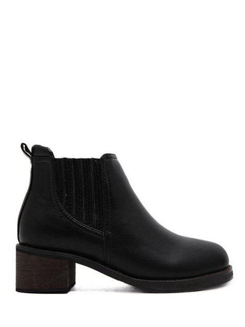 best Faux Leather Chunky Heel Ankle Boots - BLACK 39 Mobile