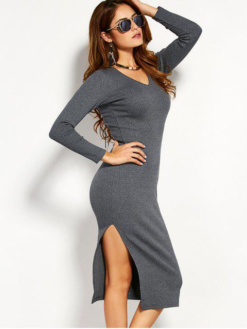 sale Long Sleeve Side Furcal Sweater Dress - GRAY L Mobile