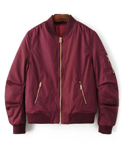 latest Pilot Jacket With Pockets - BURGUNDY S Mobile