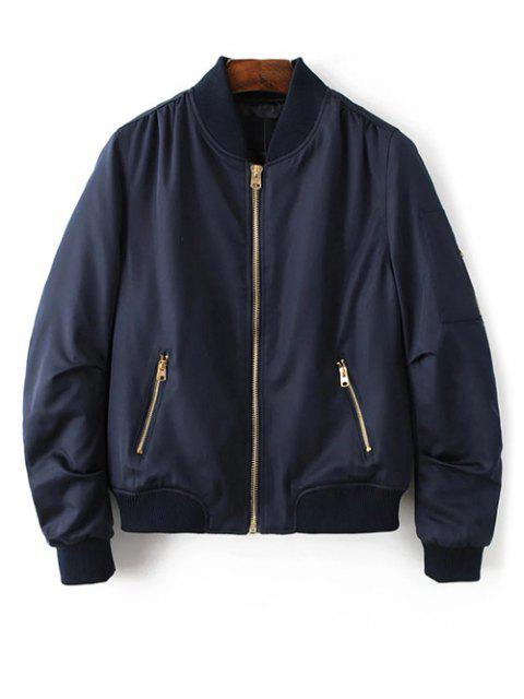 trendy Pilot Jacket With Pockets - CADETBLUE L Mobile