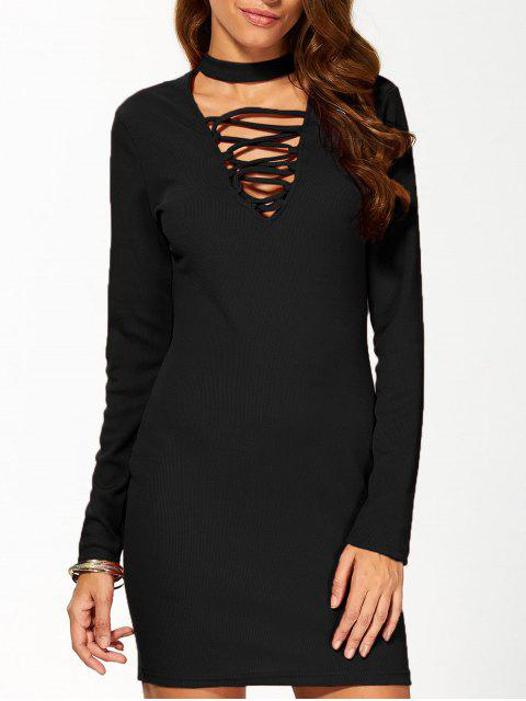 lady Long Sleeve Lace Up Choker Bodycon Dress - BLACK M Mobile