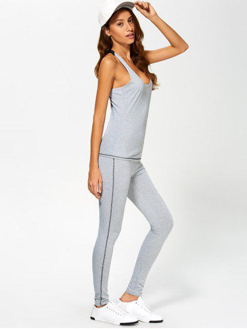 lady Color Block Tank Top and Sports Skinny Leggings - GRAY S Mobile