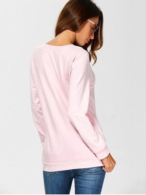 sweatshirt décontracté a lacet - ROSE PÂLE M Mobile