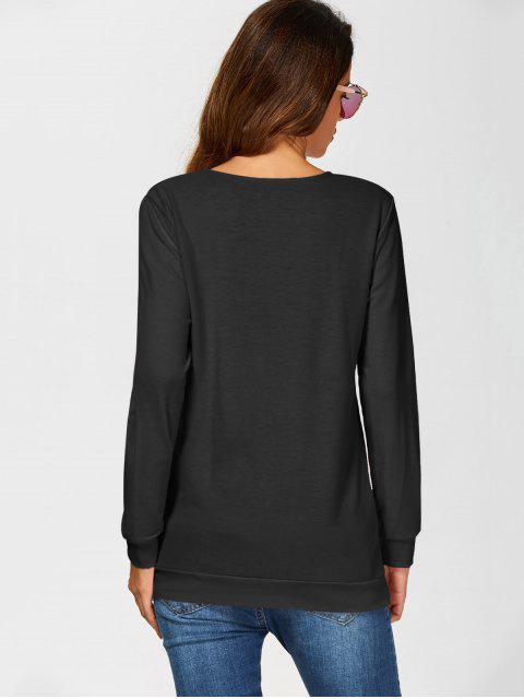 sweatshirt décontracté a lacet - Noir M Mobile