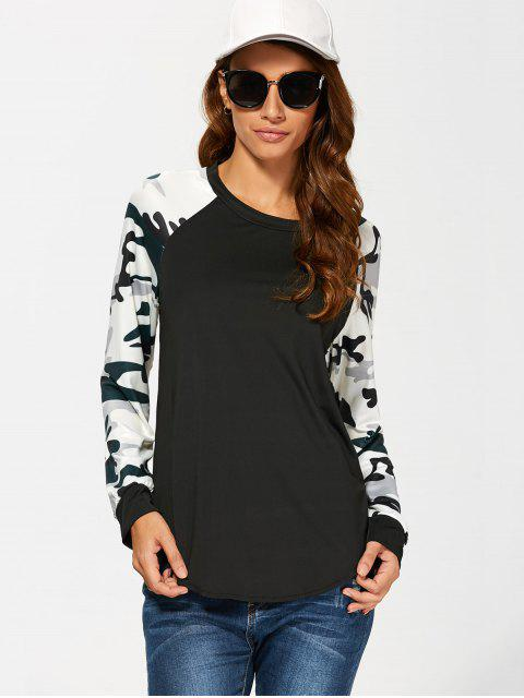 chic Raglan Sleeve Camouflage T-Shirt - BLACK L Mobile