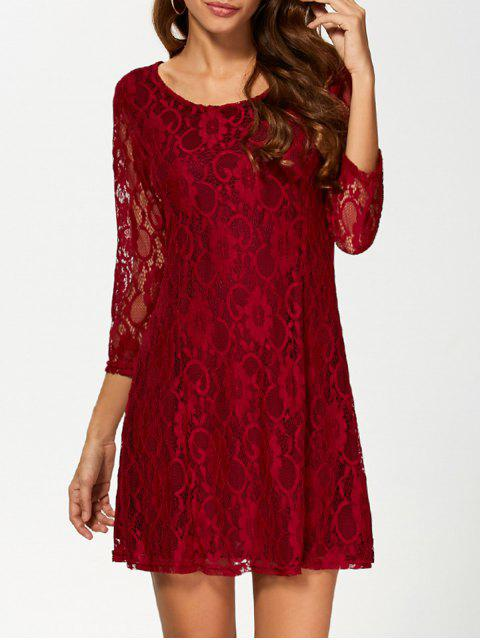 lady Short Lace Dress With Sleeves - WINE RED XL Mobile