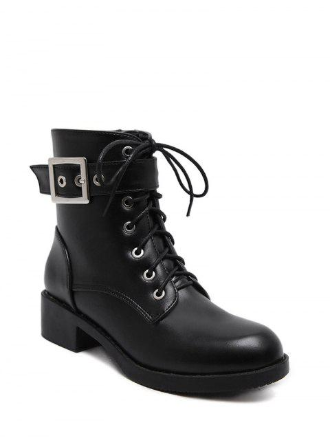 unique Chunky Heel Buckle Strap Combat Boots - BLACK 38 Mobile