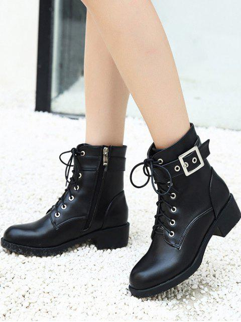 fashion Chunky Heel Buckle Strap Combat Boots - BLACK 39 Mobile