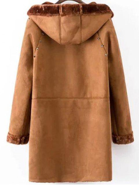 affordable Hooded Faux Shearling Coat - CAMEL M Mobile