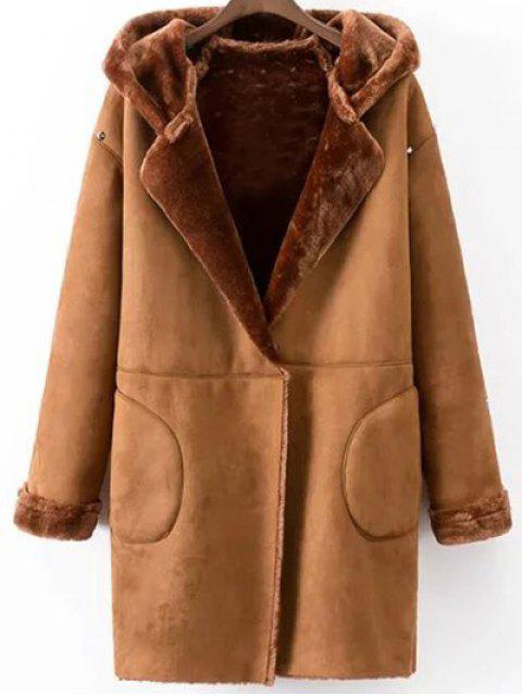 sale Hooded Faux Shearling Coat -   Mobile