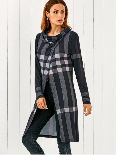new Front Slit Plaid Cowl Neck T-Shirt - CHECKED XL Mobile
