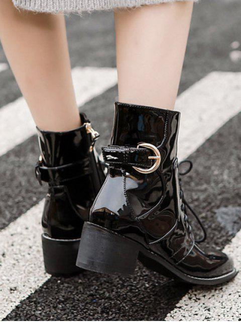 affordable Buckle Patent Leather Combat Boots - BLACK 37 Mobile