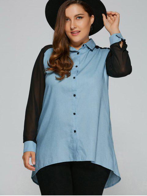 chic Chiffon Sleeve Denim Plus Size Shirt - DENIM BLUE 2XL Mobile